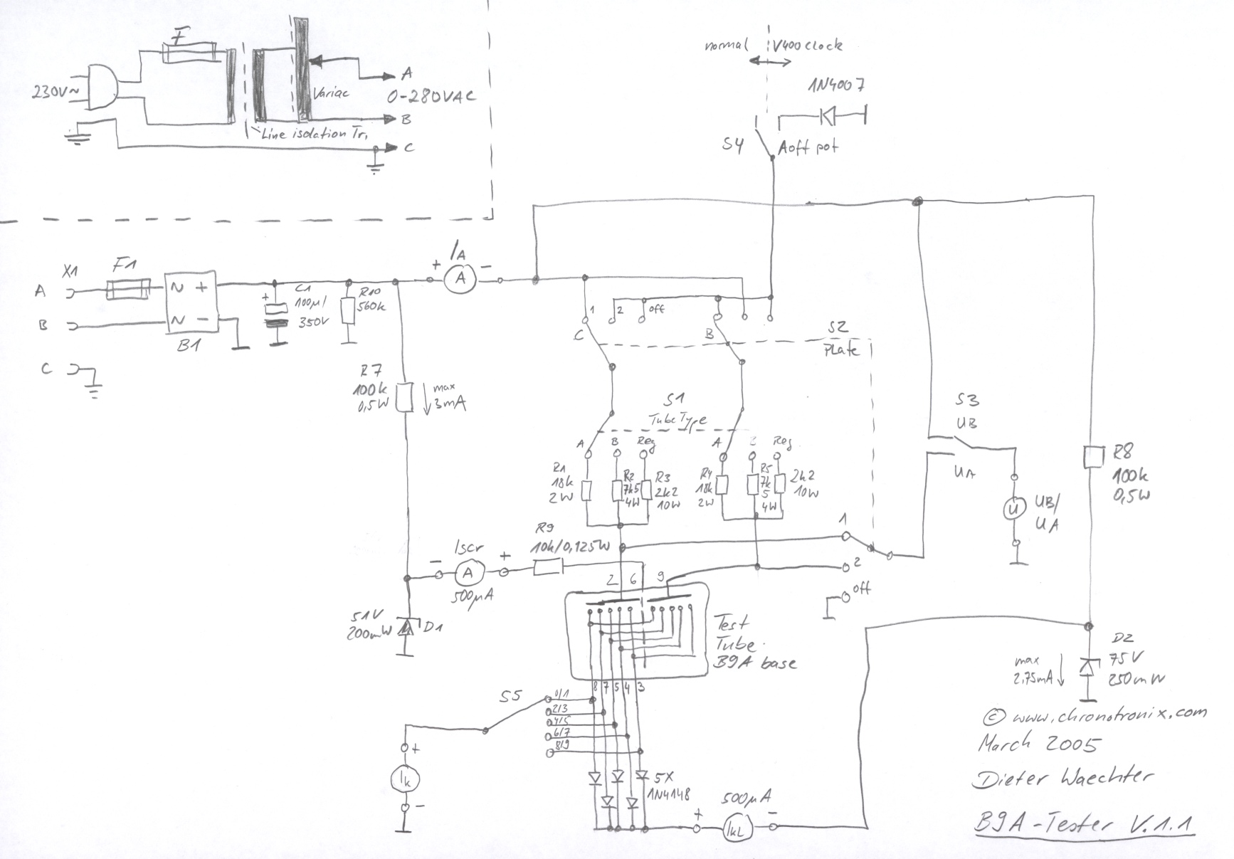 nixie tube wiring diagram dieter's b9a nixie tube tester