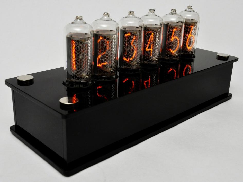 IN-8 Blue Dream Nixie Clock in Black Brilliance Case / IN-8